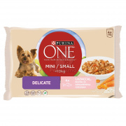 Purina ONE Mini Delicate Nassfutter für Hunde 4 x 100 g